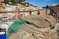 Pile of fishing net in harbour, Camogli, Liguria, Italy