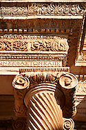 Ionic  columns of the Bath Gymnasium complex of Sardis, a typical example of the colonnaded palaestra front of a Hellenistic 1st cent. AD Greco Roman baths of the western & southern region of Anatolia. Sardis archaeological site, Hermus valley, Turkey. A Harvard Art Museum excavation project. .<br /> <br /> If you prefer to buy from our ALAMY PHOTO LIBRARY  Collection visit : https://www.alamy.com/portfolio/paul-williams-funkystock/sardis-archaeological-site-turkey.html<br /> <br /> Visit our CLASSICAL WORLD HISTORIC SITES PHOTO COLLECTIONS for more photos to download or buy as wall art prints https://funkystock.photoshelter.com/gallery-collection/Classical-Era-Historic-Sites-Archaeological-Sites-Pictures-Images/C0000g4bSGiDL9rw