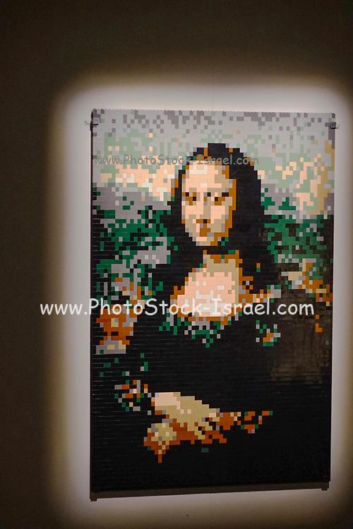 Da Vinci Mona Lisa from Lego building blocks at the Holon Children's museum. Holon, Israel