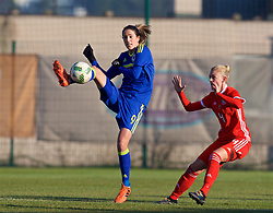 ZENICA, BOSNIA AND HERZEGOVINA - Tuesday, November 28, 2017: Bosnia and Herzegovina's Milena Nikolić and Wales' captain Sophie Ingle during the FIFA Women's World Cup 2019 Qualifying Round Group 1 match between Bosnia and Herzegovina and Wales at the FF BH Football Training Centre. (Pic by David Rawcliffe/Propaganda)