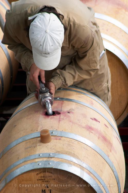 Topping up. Oak barrel aging and fermentation cellar. Mas Igneus, Gratallops, Priorato, Catalonia, Spain.