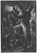 Humphry Davy (1778-1829) English chemist. Artist's impression of Davy testing his miner's safety lamp. From Edwin Hodder 'Heroes of Britain', London c1880. Wood engraving.