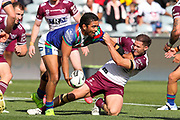 Isaiah Papali'i looks to offload in a tackle. Vodafone Warriors v Manly Sea Eagles. NRL Rugby League, Central Coast Stadium, Gosford, NSW, Australia, Sunday 27th September 2020 Copyright Photo: David Neilson / www.photosport.nz
