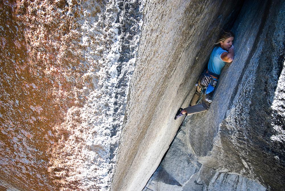 Kate Rutherford climbing Astroman, Yosemite, CA
