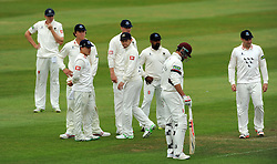 The Sussex team react after Somerset's Marcus Trescothick edges the ball to Sussex's Ed Joyce however it was later given not out. - Photo mandatory by-line: Harry Trump/JMP - Mobile: 07966 386802 - 06/07/15 - SPORT - CRICKET - LVCC - County Championship Division One - Somerset v Sussex- Day Two - The County Ground, Taunton, England.