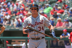 May 9, 2018 - Arlington, TX, U.S. - ARLINGTON, TX - MAY 09: Detroit Tigers designated hitter James McCann (34) walks to the dugout during the game between the Detroit Tigers and the Texas Rangers on May 9, 2018 at Globe Life Park in Arlington, TX. (Photo by George Walker/Icon Sportswire) (Credit Image: © George Walker/Icon SMI via ZUMA Press)
