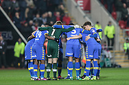 Leeds get into a huddle before the EFL Sky Bet Championship match between Rotherham United and Leeds United at the New York Stadium, Rotherham, England on 26 November 2016. Photo by Mark P Doherty.