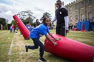 New York Giants players entertain local kids during the New York Giants Press Day  at Syon House, Brentford, United Kingdom on 21 October 2016. Photo by Jason Brown.