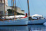Yachts in the harbour at Calvi, Corsica, France late 1950s