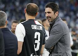 May 19, 2019 - Turin, ITA, Italy - Gigi Buffon and Giorgio Chiellini during Serie A match between Juventus v Atalanta, in Turin, on May 19, 2019  (Credit Image: © Loris Roselli/NurPhoto via ZUMA Press)