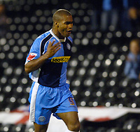 Photo: Daniel Hambury.<br />Fulham v Wycombe Wanderers. Carling Cup. 20/09/2006.<br />Wycombe's Jermaine Easter celebrates his goal.