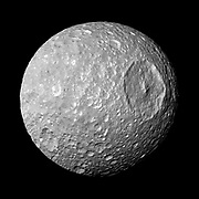 Saturn's moon Mimas. The large Herschel Crater dominates Mimas. Cassini.