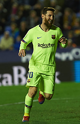 December 16, 2018 - Valencia, Valencia, Spain - Leo Messi of FC Barcelona celebrates a goal during the La Liga match between Levante UD and FC Barcelona at Ciutat de Valencia Stadium on December 16, 2018 in Valencia, Spain. (Credit Image: © AFP7 via ZUMA Wire)