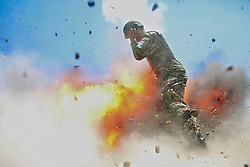 May 2, 2017 - Laghman province, Afghanistan - (File Photo) - In a handout photo from the US Army, A mortar tube accidentally explodes during an Afghan National Army live-fire training exercise in Laghman province, Afghanistan, July 2, 2013. This photo was taken by U.S. Army Spc. Hilda Clayton, who died in the blast.  (Credit Image: © US Army/ZUMA Wire)