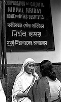 Mother Teresa of Calcutta seen outside her mission in Calcutta, India in 1969.Photographed by Terry Fincher