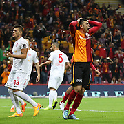 Galatasaray's Burak Yilmaz (R)  during their Turkish Super League soccer match Galatasaray between Antalyaspor at the AliSamiYen Spor Kompleksi TT Arena at Seyrantepe in Istanbul Turkey on Saturday, 21 November 2015. Photo by Kurtulus YILMAZ/TURKPIX