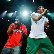 Columbia, MD - August 30th, 2010:  Phife Dawg and Q-Tip of A Tribe Called Quest were joined on stage during their set by the group's fourth member Jarobi, as well as Busta Rhymes and Spliff Star.  (Photo by Kyle Gustafson/For The Washington Post)