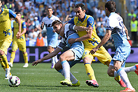 Miroslav Klose Lazio, Dario Dainelli Chievo.<br /> Roma 26-04-2015 Stadio Olimpico. Football Calcio 2014/2015 Serie A. Lazio - Chievo. Foto Antonietta Baldassarre / Insidefoto