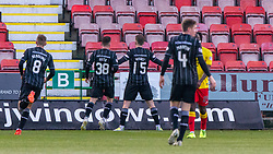Dunfermline's Kevin Nisbet cele scoring theirthird goal. half time : Dunfermline 4 v 0 Partick Thistle, Scottish Championship game played 30/11/2019 at Dunfermline's home ground, East End Park.