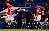 Antonio Conte, the manager of Chelsea complains to the 4th official .Premier league match, Chelsea v Manchester United at Stamford Bridge in London on Sunday 5th November 2017.<br /> pic by Andrew Orchard sports photography.