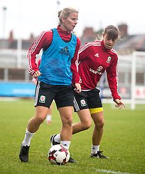 NEWPORT, WALES - Monday, September 19, 2016: Wales' Kylie Davies and Gemma Evans warms up ahead of the UEFA Women's Euro 2017 Qualifying Group 8 match at Rodney Parade. (Pic by Laura Malkin/Propaganda)