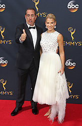 Jerry Seinfeld, Jessica Seinfeld arriving for The 68th Emmy Awards at the Jerry Seinfeld, Jessica Seinfeld, LA Live, Los Angeles, 18th September 2016.