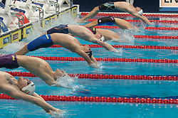 BUDAPEST, Oct. 5, 2018  Swimmers compete during the Men's 200m Backstroke final of the FINA Short Course Swimming World Cup held in Budapest, Hungary on Oct. 4, 2018. (Credit Image: © Attila Volgyi/Xinhua via ZUMA Wire)
