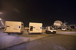 Flying stalls on their way to the plane <br /> Departure of the horses to the World Cup Finals in Las Vegas from Schiphol - Amsterdam 2015.<br />  © Hippo Foto - Dirk Caremans