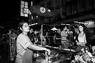 Busy scene at night on Khao San Road in Bangkok, Thailand (November 19, 2011)