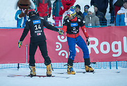 Baumeister Stefan and Karl Benjamin during the FIS snowboarding world cup race in Rogla (SI / SLO) | GS on January 20, 2018, in Jasna Ski slope, Rogla, Slovenia. Photo by Urban Meglic / Sportida