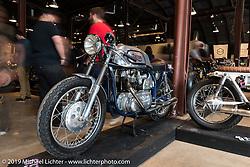 Sofi Tsingos' GT-Moto 1960's Triton (Triumph-Norton) on Saturday at the Handbuilt Motorcycle Show. Austin, TX. April 11, 2015.  Photography ©2015 Michael Lichter.