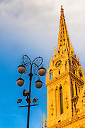 Street lamp and evening light on the Cathedral of the Assumption, Zagreb, Croatia