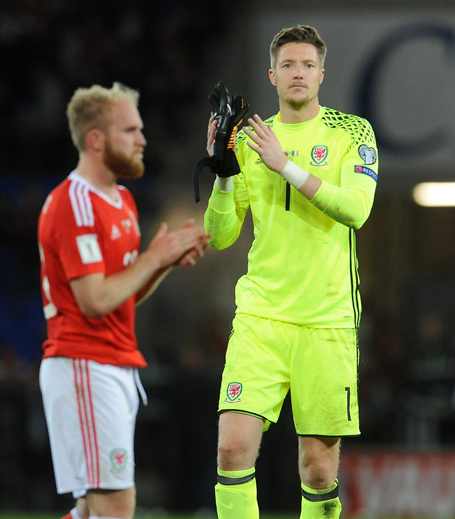 Wales' Wayne Hennessey looks dejected at the final whistle <br /> <br /> Photographer Ian Cook/CameraSport<br /> <br /> FIFA World Cup Qualifying - European Region - Group D - Wales v Republic of Ireland - Monday 9th October 2017 - Cardiff City Stadium - Cardiff<br /> <br /> World Copyright © 2017 CameraSport. All rights reserved. 43 Linden Ave. Countesthorpe. Leicester. England. LE8 5PG - Tel: +44 (0) 116 277 4147 - admin@camerasport.com - www.camerasport.com