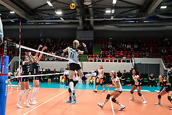 16.05.2019, Montreux, SUI, Montreux Volley Masters 2019, Deutschland vs Polen, im Bild Spike by Louisa Lippmann (Germany #11) // during the Montreux Volley Masters match between Germany and Poland in Montreux, Switzerland on 2019/05/16. EXPA Pictures © 2019, PhotoCredit: EXPA/ Eibner-Pressefoto/ beautiful sports/Schiller<br /> <br /> *****ATTENTION - OUT of GER*****