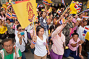 05 MAY 2010 - BANGKOK, THAILAND: People on the street in front of the Grand Palace in Bangkok cheer and wave the Thai and Royal flags (royal flag is the yellow one) as Thai King Bhumibol Adulyade passes them, Wednesday, May 5. Wednesday was Coronation Day in Thailand, marking the 60th anniversary of the coronation of Thai King Bhumibol Adulyade, also known as Rama IX. He is the world's longest serving current head of state and the longest reigning monarch in Thai history. He has reigned since June 9, 1946 and his coronation was on May 5, 1950, after he finished his studies. The King is revered by the Thai people. Thousands lined the streets around the Grand Palace hoping to catch a glimpse of the King as his motorcade pulled into the palace. The King has been hospitalized since September 2009, making only infrequent trips out of the hospital for official functions, like today's ceremonies.   PHOTO BY JACK KURTZ