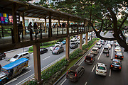 Walkway over the road towards Glorietta Shopping Mall in on Palm Drive, Makati, Philippines.
