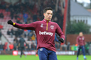 Samir Nasri (18) of West Ham United warming up before the Premier League match between Bournemouth and West Ham United at the Vitality Stadium, Bournemouth, England on 19 January 2019.