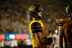 California quarterback Chase Garbers (7) awaits the resumption of play during the fourth quarter of an NCAA college football game against Nevada, Saturday, Sept. 4, 2021, in Berkeley, Calif. (AP Photo/D. Ross Cameron)