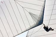 "29SEP09 Les Voiles De St Tropez 2009..The bowman at work on the 1928 55m Herreshoff build ""Elena""."