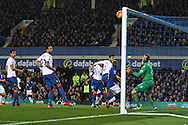 Crystal Palace Goalkeeper Wayne Hennessey watches the ball hit the woodwork and bounce to safety. Barclays Premier league match, Everton v Crystal Palace at Goodison Park in Liverpool, Merseyside on Monday 7th December 2015.<br /> pic by Chris Stading, Andrew Orchard sports photography.