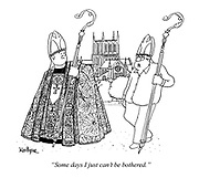 """""""Some days I just can't be bothered."""" (a priest turns up without his uniform except a staff and hat)"""