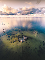 Aerial view of small rocks emerging form the baltic sea in Estonia.