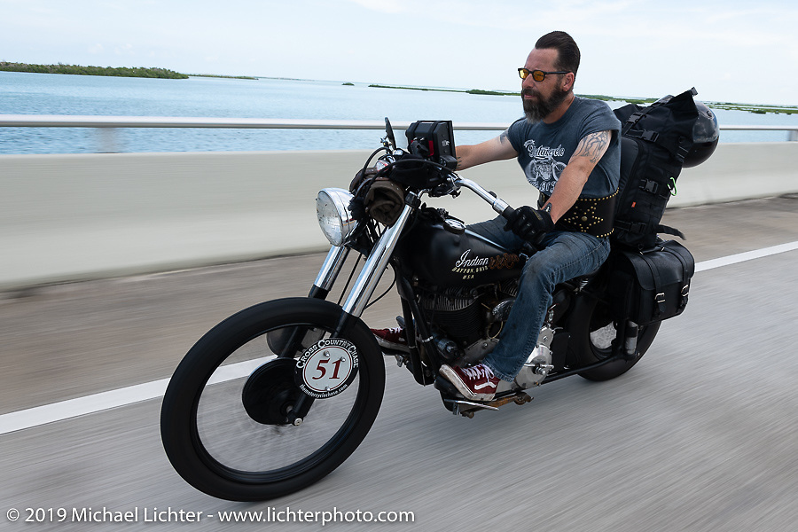 Shane Masters riding his Class III 1948 Indian Chief in the Cross Country Chase motorcycle endurance run from Sault Sainte Marie, MI to Key West, FL. (for vintage bikes from 1930-1948). Stage-10 covered 110 miles from Miami to the finish in Key West, FL USA. Sunday, September 15, 2019. Photography ©2019 Michael Lichter.