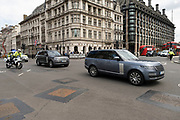 Official govenrment vehicle containing the Prime Minister passing on way to the weekly PMQs on 26th May 2021 in London, United Kingdom.