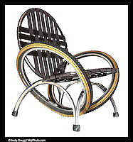 """Vector Lounge Chair (Aluminum) with surplus automotive seat-belt webbing, 28""""d x 28""""w x 30""""h, 16"""" seat height, 21"""" seat depth, $595"""