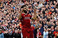 Mohamed Salah of Liverpool celebrates after scoring his teams 1st goal. Premier League match, Liverpool v Burnley at the Anfield stadium in Liverpool, Merseyside on Saturday 16th September 2017.<br /> pic by Chris Stading, Andrew Orchard sports photography.