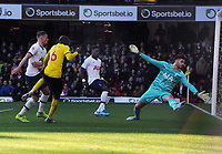 Football - 2019 / 2020 Premier League - Watford vs. Tottenham Hotspur<br /> <br /> Abdoulaye Doucoucoure of Watford misses a great chance with Spurs goalkeeper, Paulo Gazzaniga, at Vicarage Road.<br /> <br /> COLORSPORT/ANDREW COWIE