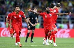 England's Jesse Lingard (left) and Danny Rose (second right) celebrate winning the penalty shootout during the FIFA World Cup 2018, round of 16 match at the Spartak Stadium, Moscow. PRESS ASSOCIATION Photo. Picture date: Tuesday July 3, 2018. See PA story WORLDCUP Colombia. Photo credit should read: Tim Goode/PA Wire. RESTRICTIONS: Editorial use only. No commercial use. No use with any unofficial 3rd party logos. No manipulation of images. No video emulation