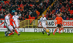 Dundee United's Nicky Clark scoring their first goal. Dundee United 2 v 1 Alloa Athletic, Scottish Championship game played 7/12/2019 at Dundee United's stadium Tannadice Park.