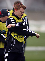 Photo: Paul Thomas.<br />Liverpool training session. UEFA Champions League. 05/03/2007.<br /><br />John Arne Riise of Liverpool.